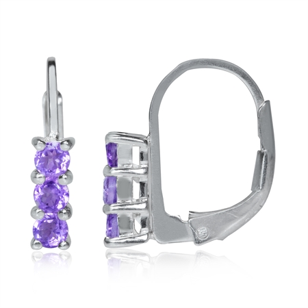 Petite 3-Stone Natural Amethyst White Gold Plated 925 Sterling Silver Leverback Earrings
