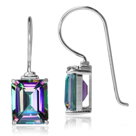 8.04ct. 10x8MM Octagon Shape Mystic Fire Topaz White Gold Plated 925 Sterling Silver Hook Earrings