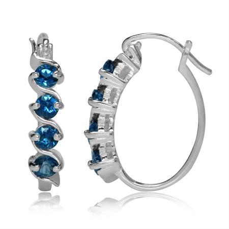 1.04ct. Genuine London Blue Topaz 925 Sterling Silver Journey Hoop Earrings