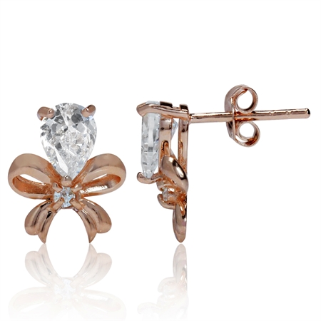 White CZ Rose Gold Plated 925 Sterling Silver Ribbon Bow Post Earrings