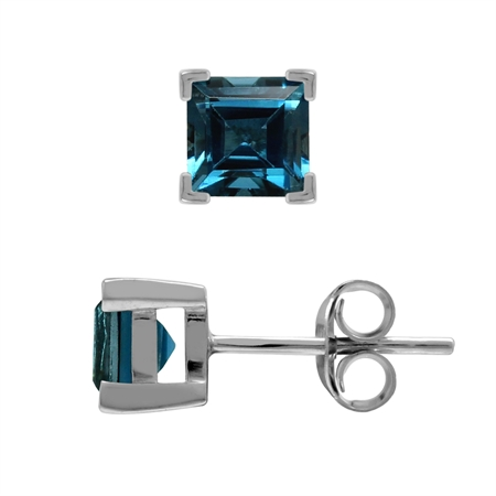 1.6ct. Genuine London Blue Topaz White Gold Plated 925 Sterling Silver Stud Earrings