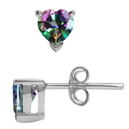 1.1ct. Petite Heart Shape Mystic Fire Topaz 925 Sterling Silver Stud Earrings