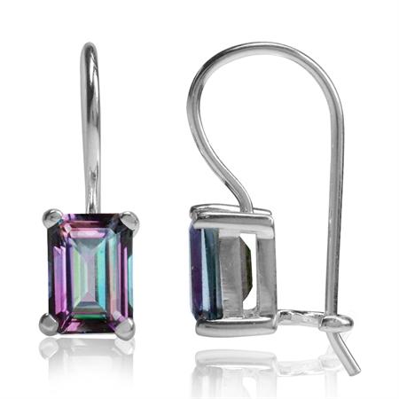 2.52ct. 7x5MM Octagon Shape Mystic Fire Topaz 925 Sterling Silver Hook Closure Earrings