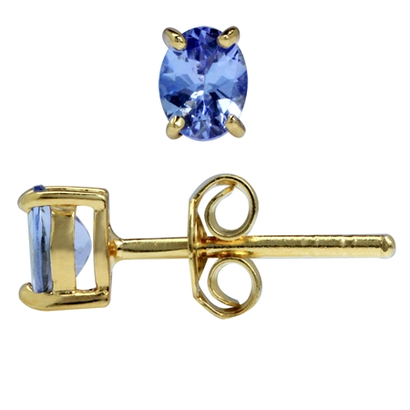 5x4MM Petite Genuine Oval Shape Tanzanite 14K Gold Plated 925 Sterling Silver Stud Earrings