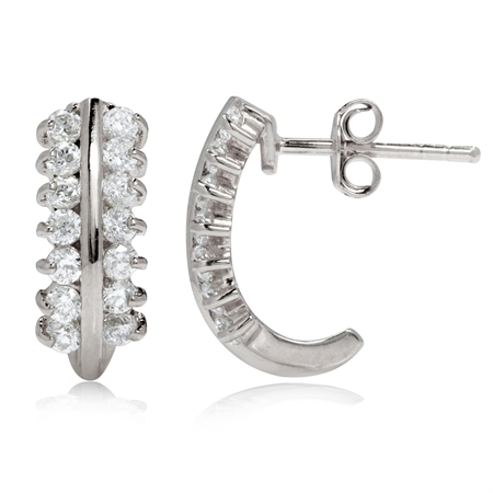 White CZ 925 Sterling Silver Journey J-Hoop Earrings