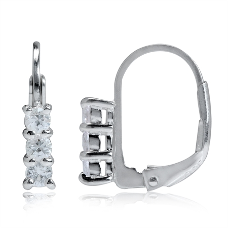 Petite 3-Stone Natural White Sapphire 925 Sterling Silver Leverback Earrings