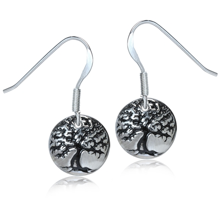 925 Sterling Silver TREE of LIFE Circle Dangle Earrings