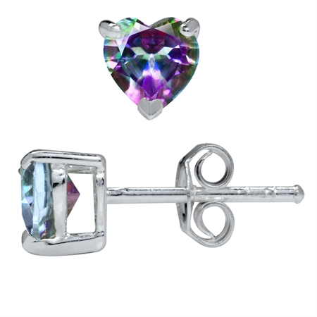 1.1ct 5MM Petite Heart Shape Mystic Fire Topaz 925 Sterling Silver Stud Earrings