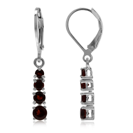 1.56ct. Natural Garnet 925 Sterling Silver Leverback Dangle Earrings