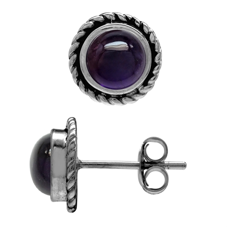 6MM Round Shape Cabochon Amethyst 925 Sterling Silver Rope Stud Earrings