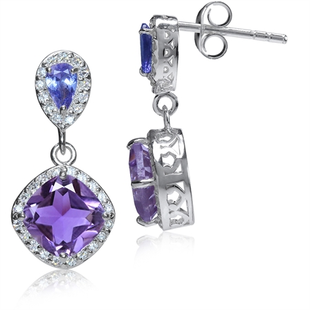 2.66ct. Natural Amethyst, Tanzanite & White Topaz 925 Sterling Silver Dangle Post Earrings