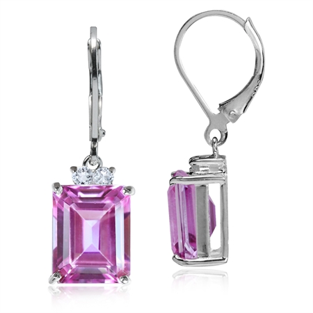 8.02ct. Pink & White Topaz 925 Sterling Silver Leverback Earrings