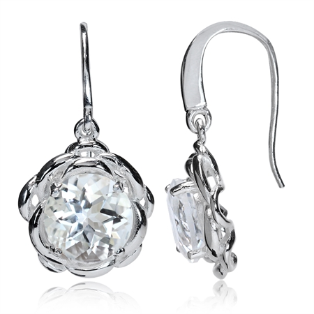 6.6ct. Natural White Quartz 925 Sterling Silver Flower Dangle Hook Earrings