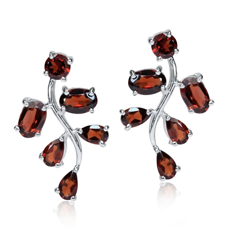 4.4ct. Natural Garnet 925 Sterling Silver Leaf Post Earrings
