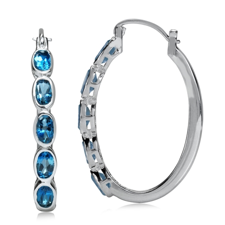 3.2ct. 5-Stone Genuine London Blue Topaz White Gold Plated 925 Sterling Silver Hoop Earrings