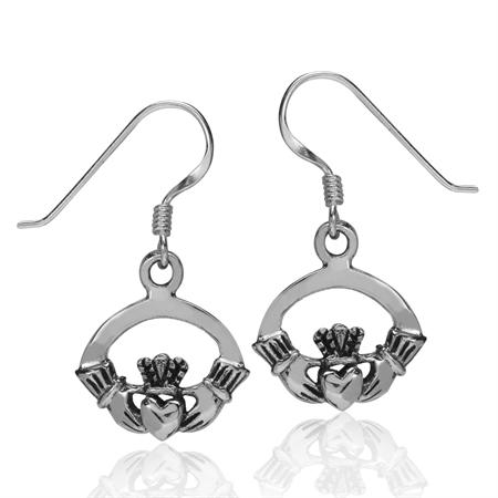 925 Sterling Silver CLADDAGH Dangle Hook Earrings
