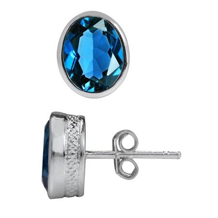 4.46ct. 9x7MM Genuine Oval Shape London Blue Topaz 925 Sterling Silver Pattern Stud Earrings