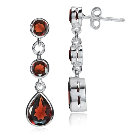 3.2ct. Natural January Birthstone Garnet 925 Sterling Silver Drop Dangle Earrings