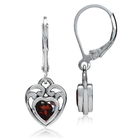 1.06ct. Natural Heart Shape Garnet 925 Sterling Silver Filigree Leverback Dangle Earrings