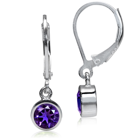 5MM Petite Natural African Amethyst 925 Sterling Silver Dangle Leverback Earrings