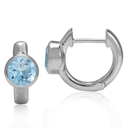 2ct. Genuine Blue Topaz 925 Sterling Silver Huggie/Hoop Earrings
