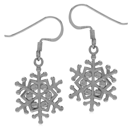 16MMx14MM 925 Sterling Silver Snowflake Dangle Hook Earrings