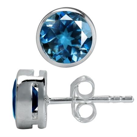 1.96ct. 6MM Genuine Round Shape London Blue Topaz 925 Sterling Silver Stud Earrings