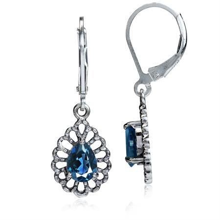 1.74ct. Genuine London Blue Topaz 925 Sterling Silver Filigree Drop Dangle Leverback Earrings