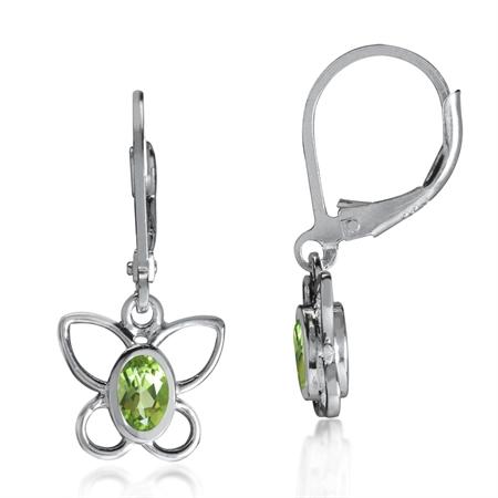 Natural Peridot 925 Sterling Silver Butterfly Leverback Dangle Earrings