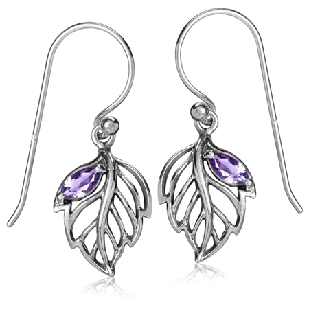 Natural Amethyst White Gold Plated 925 Sterling Silver Leaf Dangle Hook Earrings