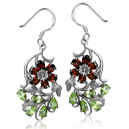 Natural Garnet & Peridot 925 Sterling Silver Flower & Leaf Dangle Hook Earrings