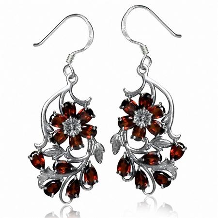 6.16ct. Natural Garnet 925 Sterling Silver Flower & Leaf Dangle Hook Earrings