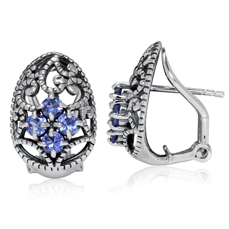 Genuine Tanzanite 925 Sterling Silver Victorian Style Omega Clip Earrings