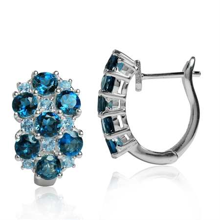 4.06ct. Genuine London Blue Topaz 925 Sterling Silver English Hook Earrings