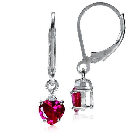 5MM Petite Heart Shape Simulated Ruby & White CZ 925 Sterling Silver Leverback Dangle Earrings