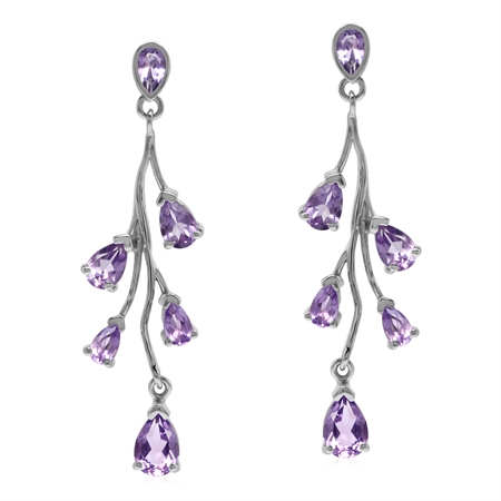 4.18ct. Natural Amethyst White Gold Plated 925 Sterling Silver Post Dangle Earrings