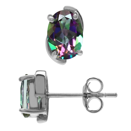 1.8ct. 7x5MM Oval Shape Mystic Fire Topaz 925 Sterling Silver Stud Earrings