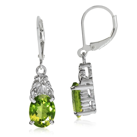 4.9ct. Natural Peridot White Gold Plated 925 Sterling Silver Leverback Earrings