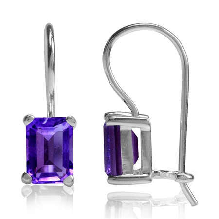 1.9ct. 7x5MM Natural Octagon Shape African Amethyst 925 Sterling Silver Hook Closure Earrings