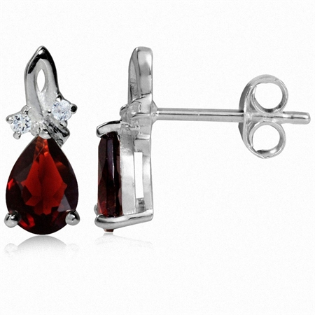 1.74ct. Natural Garnet & White Topaz 925 Sterling Silver Drop Stud/Post Earrings