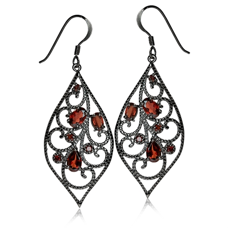 3.12ct. Natural Garnet Black Rhodium Plated 925 Sterling Silver Drop Dangle Hook Earrings