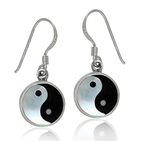 White Mother Of Pearl & Created Black Onyx 925 Sterling Silver Yin Yang Dangle Hook Earrings