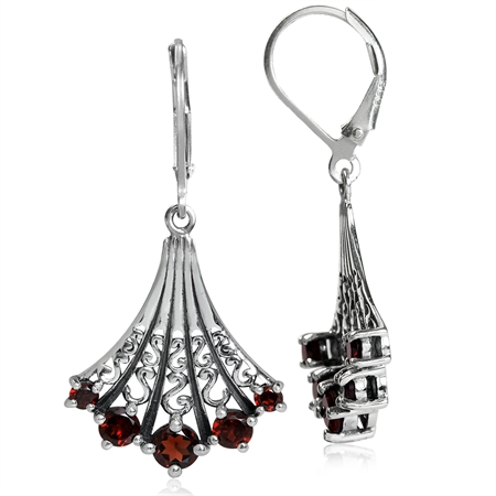 5-Stone Natural Garnet 925 Sterling Silver Victorian Style Leverback Earrings