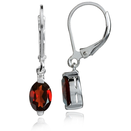 1.82ct. 7x5MM Petite Natural Garnet White Gold Plated 925 Sterling Silver Leverback Dangle Earrings