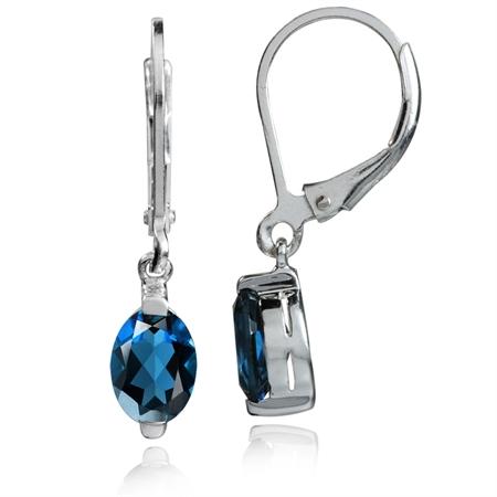 1.86ct. 7x5MM Petite Genuine London Blue Topaz 925 Sterling Silver Leverback Dangle Earrings