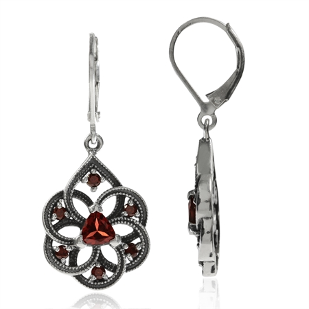 Natural Garnet 925 Sterling Silver Filigree Dangle Drop Leverback Earrings