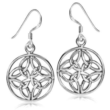 925 Sterling Silver Celtic Knot Circle Dangle Hook Earrings
