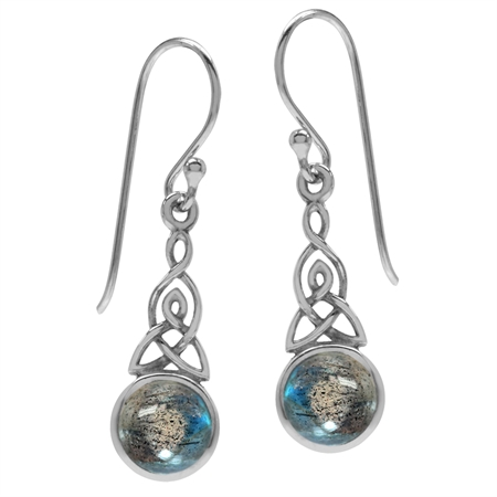 Labradorite 925 Sterling Silver Triquetra Celtic Knot Dangle Hook Earrings