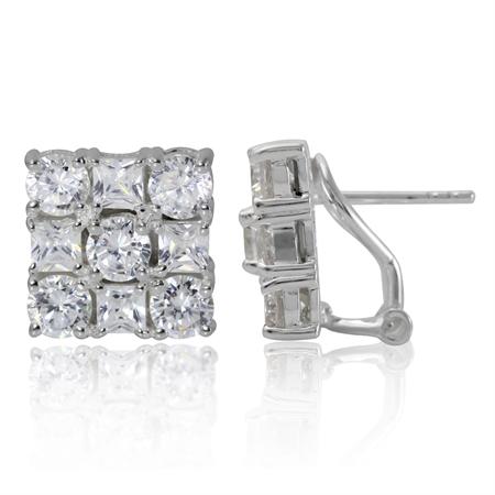 White CZ 925 Sterling Silver Omega Clip Earrings