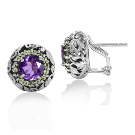 2.3ct. Natural African Amethyst&Peridot 925 Sterling Silver Leaf Vintage Style Omega Clip Earrings